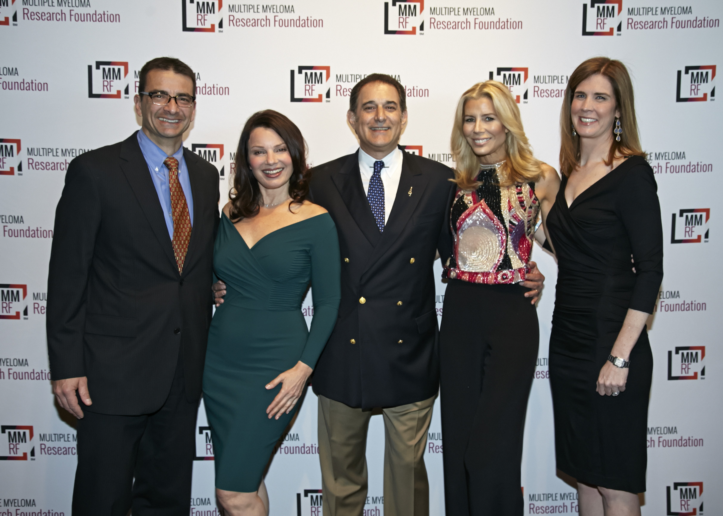 Walter M. Capone of the MMRF, Fran Drescher, Michael Reinert of the MMRF Board of Directors, Aviva Drescher and Anne Quinn Young of the MMRF celebrating at the 2014 MMRF Laugh for Life: New York.
