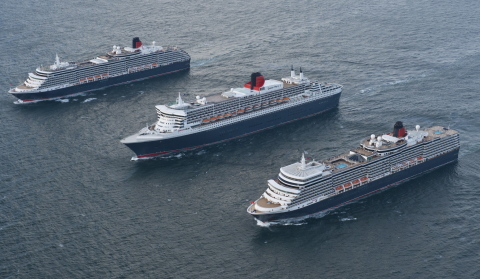 Cunard Line's Three Queens, from top left to right: Queen Victoria, Queen Mary 2 and Queen Elizabeth. [Photo credit: James Morgan]