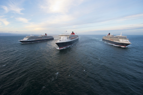 Cunard Line's Three Queens photographed off the coast of Lisbon, Portugal. [Photo credit: James Morgan]