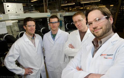 NREL; New Energy Development Team (from L to R) Dana Olson, PhD, Scientist, NREL; Scott Mauger, PhD, Scientist, NREL; Maikel van Hest, PhD, Scientist, NREL; and Scott Hammond, PhD, Principal Scientist, New Energy. (Photo: New Energy Technologies, Inc.)