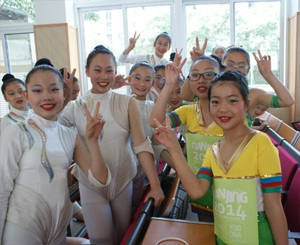 Nanjing young students were thrilled to perform for the celebration of Nanjing 2014 Youth Olympic Games 100-day countdown. (Photo: Business Wire)