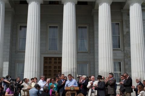 Ben & Jerry's Celebrates Vermont's GMO Labeling Bill (Photo: Business Wire)
