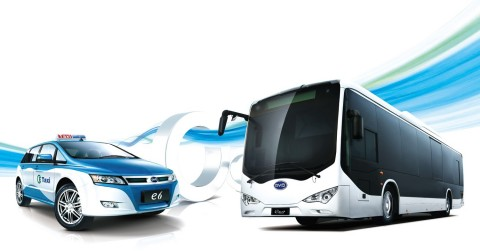 The pure-electric BYD e6 Taxi and k9 Transit Bus (Photo: Business Wire)