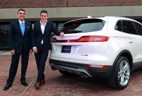 The 2015 Lincoln MKC, the brand's first small premium utility, is engaging the senses through a tour of cities this spring. On Thursday, May 8, (left to right) Miguel Rosales, president and principal designer of Rosales & Partners, and Peter Jones, advanced interior design manager, The Lincoln Motor Company, compared strategies for designing grace under pressure as it relates to luxury automobiles and state-of-the-art suspension bridges. Audrey O'Hagan, past president of the Boston Society of Architects, moderated the discussion at the Boston Museum of Science. Photo credit: Getty Images for The Lincoln Motor Company.