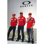 BARCELONA, SPAIN - MAY 8: (L-R) Scuderia Ferrari drivers Marc Gene of Spain, Pedro de la Rosa of Spain and Kimi Raikonnen of Finland attend The Official Oakley X Scuderia Ferrari Collection Launch on May 8, 2014 in Barcelona, Spain (Photo: Business Wire)