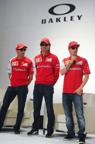 BARCELONA, SPAIN - MAY 8: (L-R) Scuderia Ferrari drivers Marc Gene of Spain, Pedro de la Rosa of Spa ...