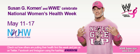 Susan G. Komen(R), WWE(R) and WWE Superstar John Cena(R) Team up to Make Women's Health a Priority (Graphic: Business Wire)