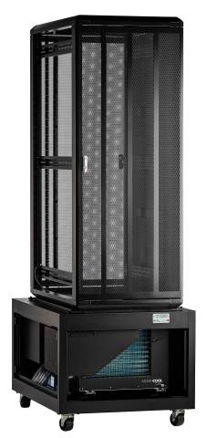 The new Uptime Racks Modular Rack Cooling System 13, manufactured by Computer Room Uptime, is an air-conditioned server cabinet powered by a MovinCool CM12 air conditioner in the system's base. (Photo: Business Wire)