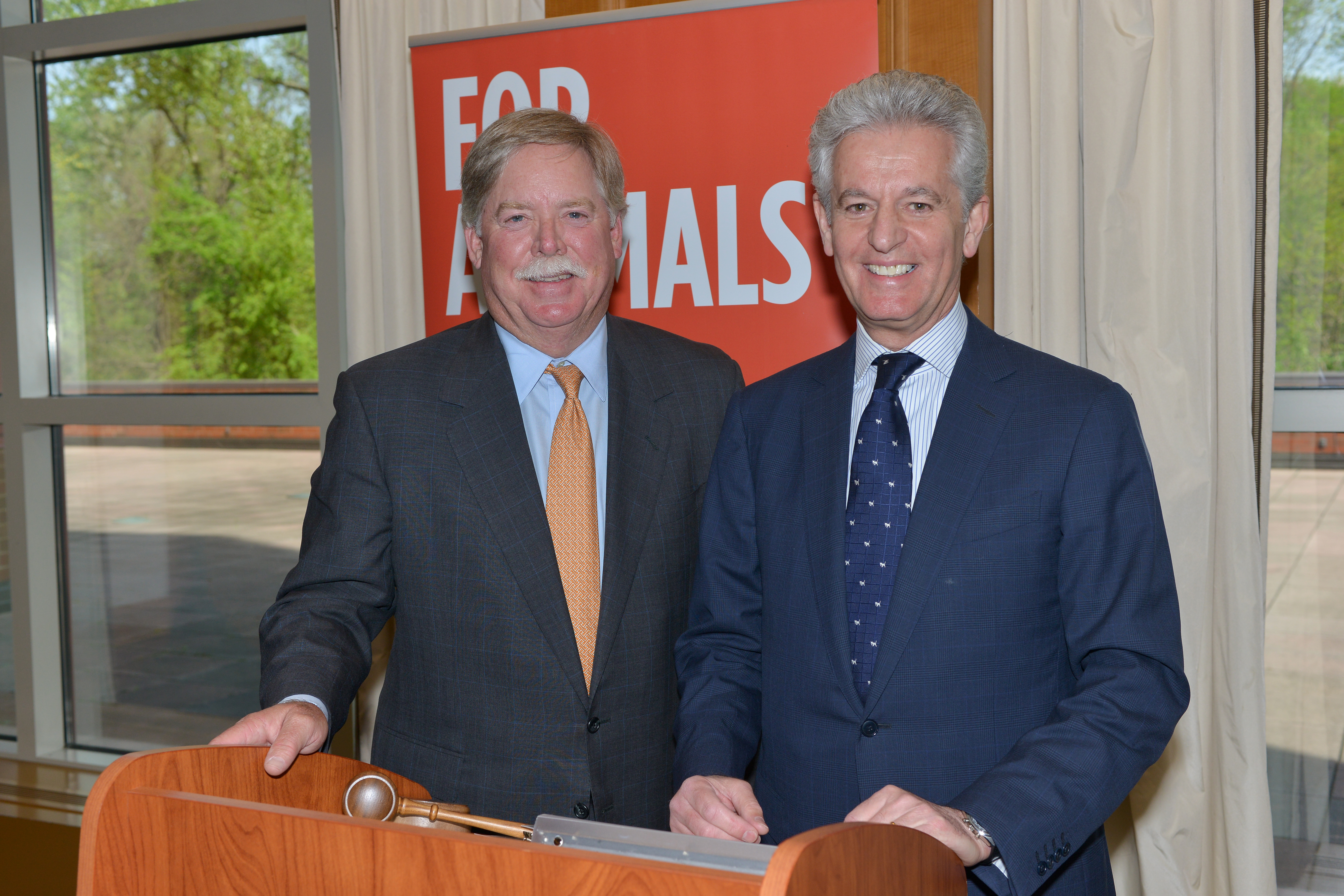 Zoetis Chairman of the Board Michael McCallister and CEO Juan Ramon Alaix at today's Annual Meeting of Shareholders.
