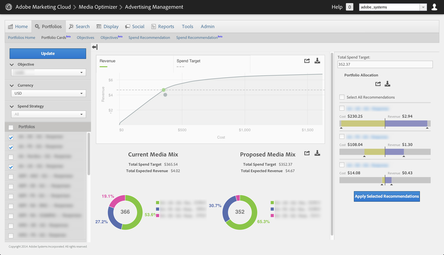 Spend recommendations show customers how they can quickly optimize campaigns based on Adobe Media Optimizer's portfolio modeling system. (Graphic: Business Wire)