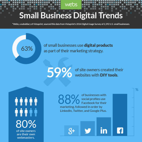 Survey shows small businesses increasingly adopting DIY websites and Facebook for marketing (Graphic: Business Wire)
