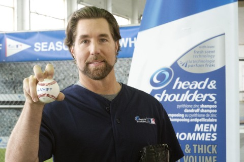 Head & Shoulders new 'Mane Man' R.A. Dickey kicked off the 2014 'Season of the Whiff' campaign in Toronto today. Whenever fans see a whiff (strikeout) this MLB regular season, they can tweet #whiff plus their favourite MLB team's Twitter handle. The seven MLB clubs with the most #whiffs each month will earn a donation to local Reviving Baseball in Inner Cities youth leagues.