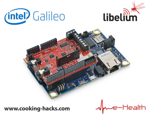 The Intel Galileo and e-Health Sensor Platform integration will be shown at Maker Faire Bay Area, May 17-18, 2014 at Cooking Hacks booth #231. Cooking Hacks is the open hardware division of Libelium. (Graphic: Business Wire)