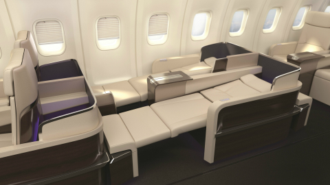 TCS Expeditions' state-of-the-art flat-bed seats in full recline. (Photo: Business Wire)