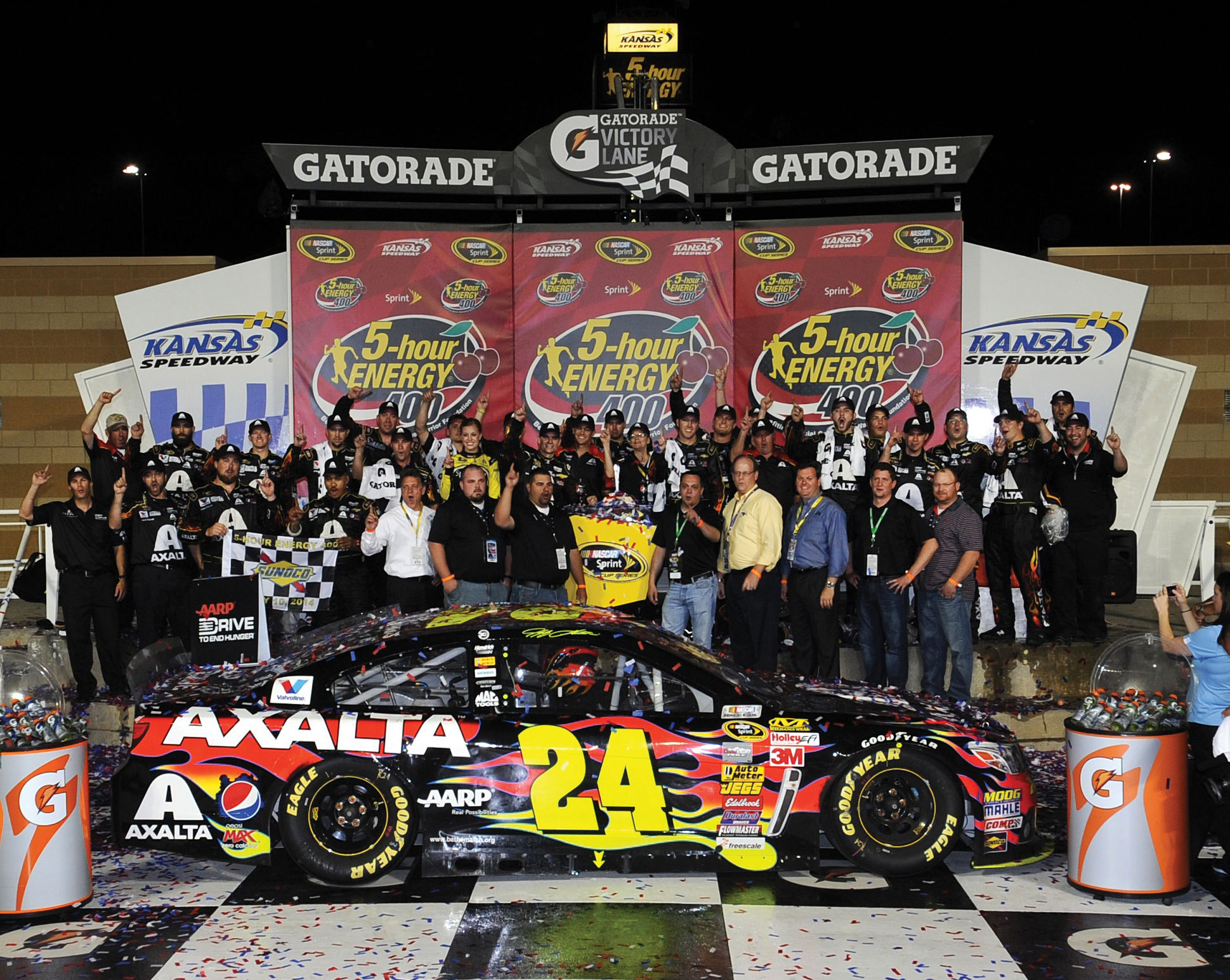 Axalta's Brilliant Flames No. 24 Chevrolet SS in Victory Lane at Kansas Speedway. (Photo: Business Wire)
