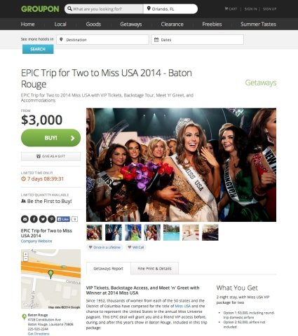 Groupon launches epic Miss USA experience deal with VIP tickets to 2014 Miss USA Competition, rehearsal, after-party, meet-and-greet and more. (Photo: Business Wire)