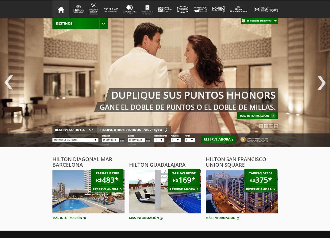 Spanish website homepage (Photo: Hilton Worldwide)