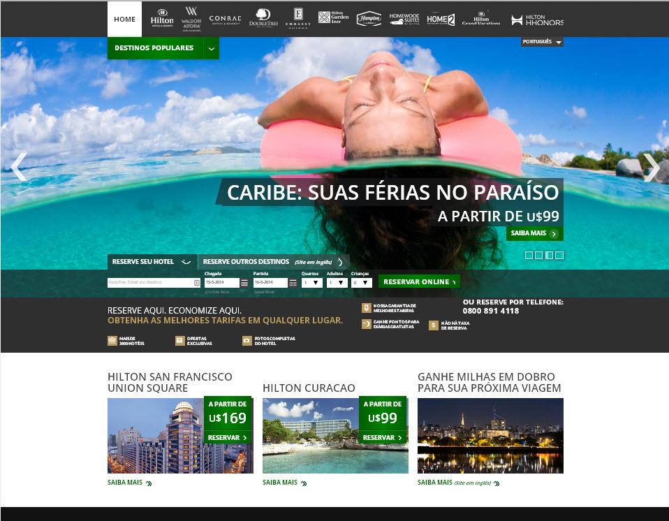 Portuguese website homepage (Photo: Hilton Worldwide)