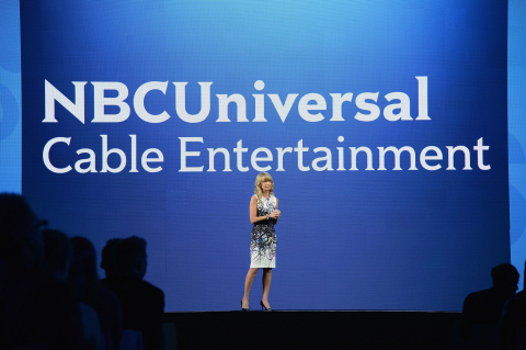 Bonnie Hammer, Chairman, NBCUniversal Cable Entertainment, opens the first-ever portfolio-wide Upfront presentation - Bravo, E!, Esquire Network, Oxygen, Sprout, Syfy and USA - on May 15th at the Javits Center North Hall in New York. (Photo: Business Wire)