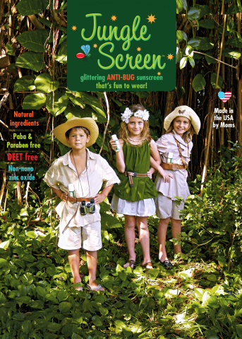 Be PREPARED for Fun! Introducing Jungle Screen, the most fabulous way to keep the bugs at bay. All natural SPF 30+ Sunscreen with all natural bug repellant and glitter! Combined with GlitterTots amazing, best selling SPF 30+ Sparkle Screen sunscreen, Jungle Screen uses all natural ingredients including lemongrass, citronella, cedar and peppermint oils to prevent bugs from biting, all while providing safe, effective, all natural broad spectrum sun protection. And of course, all of this protection comes with safari gold GLITTER! www.glittertots.com (Photo: Business Wire)