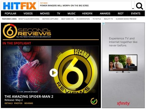 Six-Second Movie Review Landing Page on HitFix.com (Photo: Business Wire)
