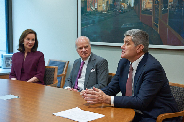 (left to right) Marie-Josée Kravis, Chair of the Board of the Sloan Kettering Institute; Henry R. Kravis, investor and philanthropist; Craig Thompson, MD, Memorial Sloan Kettering Cancer Center President and CEO (Photo: Business Wire)