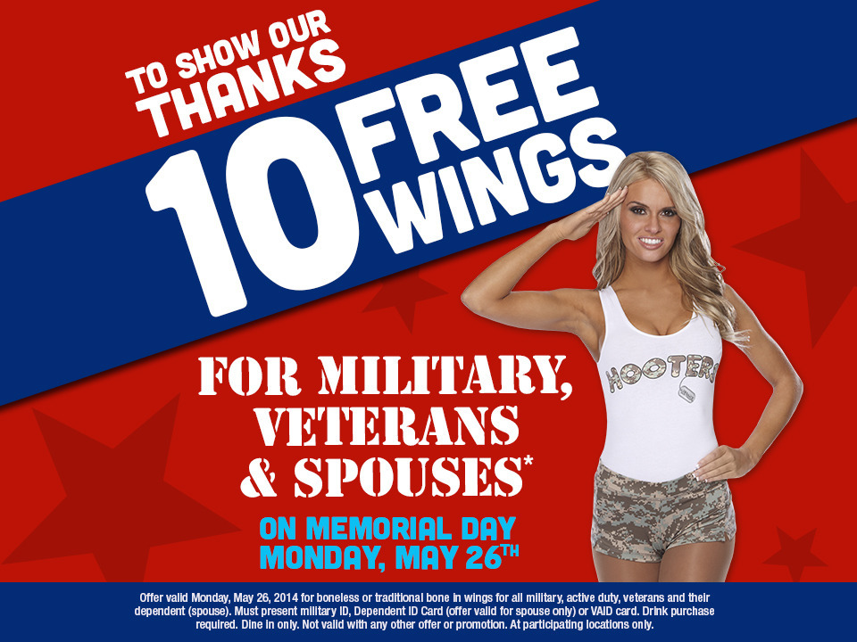 Hooters gives thanks with 10 free wings for military, veterans and spouses on Memorial Day, May 26 (Graphic: Business Wire)