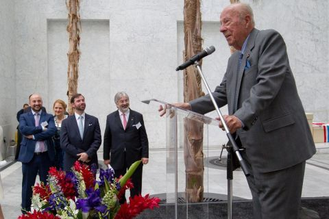 Former Secretary of State George P. Shultz spoke at a royal reception held by the Luxembourg Government in San Francisco May 15. The delegation was led by HRH Prince Guillaume, rear, center. (Photo: Business Wire)