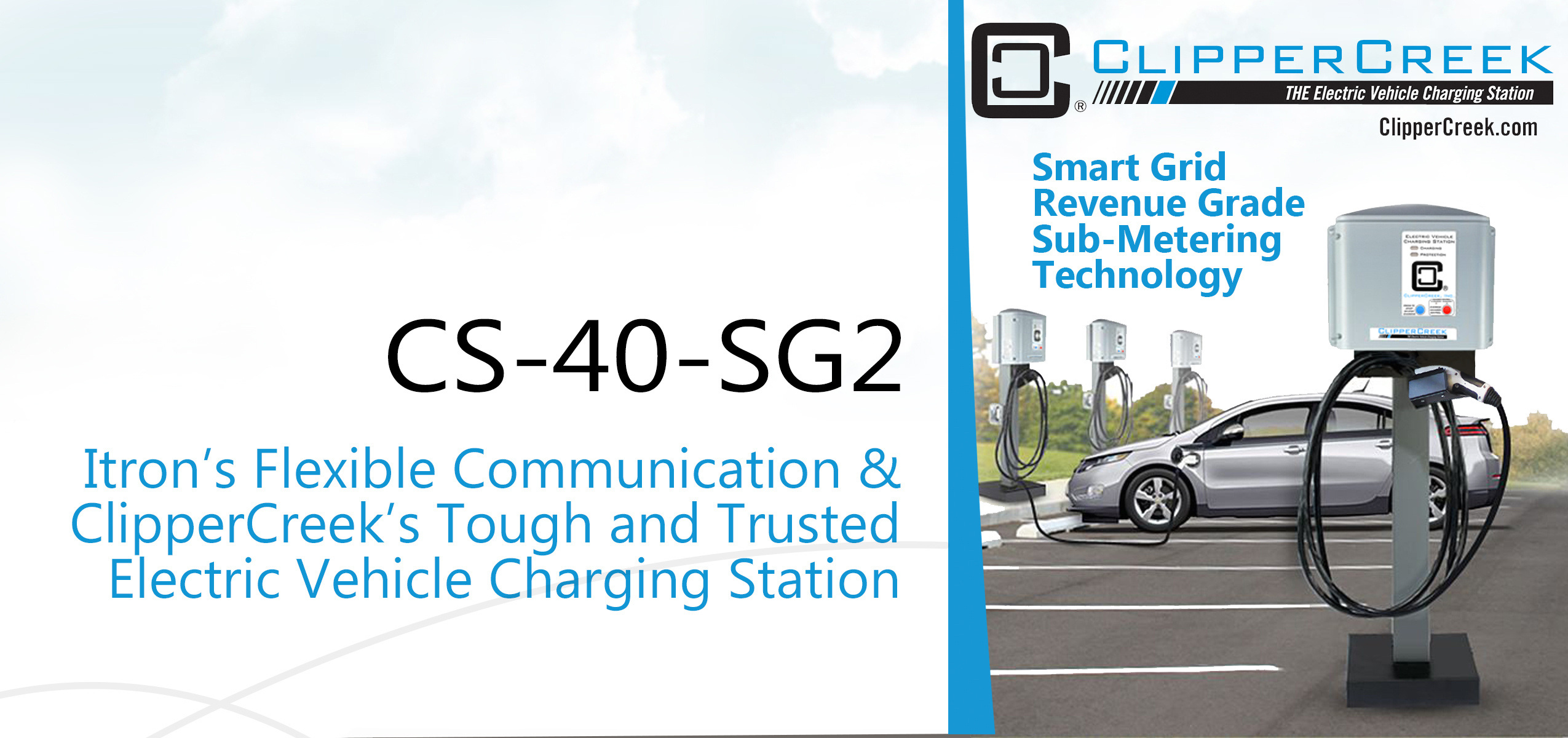 In their joint efforts, Itron and ClipperCreek, have developed an ETL listed, smart grid, revenue grade, sub-metering EV charging station. The CS-40-SG2 is a game changer in the charging station sub-metering industry. (Photo: Business Wire)