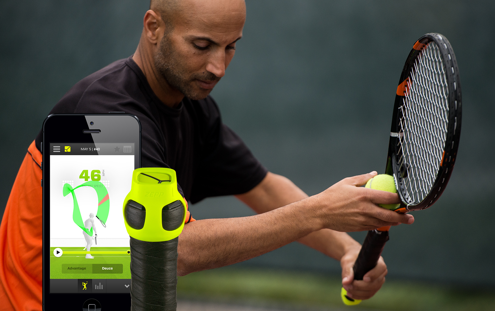 Simply attach the Zepp™ multi-sport sensor to the handle of any racket, serve a ball and instantly see 3D results on your smartphone or tablet (iPhone, iPad or Android device) when using new and improved Zepp Tennis™ app. The new app also measures important serve metrics such as racket speed, ball speed potential, spin, backswing time and impact time, which gives players and coaches a new more scientific way to evaluate performance on the court. Additionally, the new sweet spot feature shows you where you make contact with the ball on the racket strings — a key element in gauging your contact quality and consistency. (Photo: Business Wire)