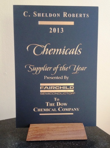 Dow's 2013 Chemical Supplier of the Year Award from Fairchild Semiconductor. (Photo: Business Wire)