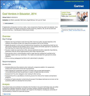 eXplorance ha ganado un lugar en la prestigiosa lista de los mejores proveedores en educación de Gartner (Graphic: Business Wire)