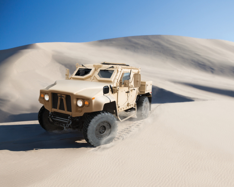 The Oshkosh Defense(R) M-ATV Light (LXT) vehicle provides military forces with the protection and ag ...