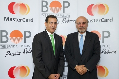 "Featured: Raghu Malhotra, Division President, Middle East and North Africa, MasterCard, and Naeemuddin Khan, President and CEO, Bank of Punjab. ""The Bank of Punjab is delighted to partner with MasterCard to bring this platform to the people of Punjab, in support of Chief Minister Shahbaz Sharif's vision to deliver financial services to every citizen in the province, improve government services, and eliminate inefficiencies,"" said Naeemuddin Khan. ""Cardholders will now have one safe, secure and simple way to deposit funds, receive social benefits, and pay for goods and services."" (Photo: Business Wire)"