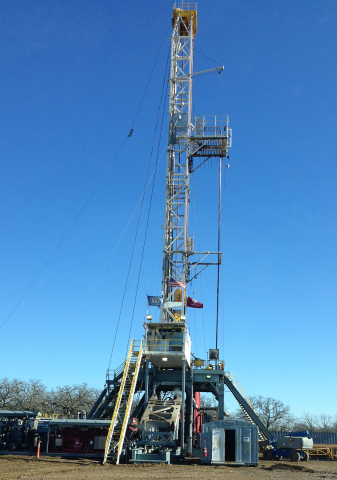 A Laredo Energy rig at work in Brazos County, Texas, where the company is drilling the stacked oil pay zones in the Eaglebine play. (Photo: Business Wire)