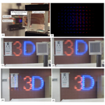 "(a) Set-up of the experiment. (b) To create a 3-D scene, the micro integral imaging display combines many views of the scene from different perspectives. Here, a 3-D depiction of the characters ""3D"" is decomposed into its various perspective views. (c) – (f) These pictures show that the artificial 3-D image behaves as if it were a real object in front of you. In (c) and (d), the Snelling chart on the left is placed about 4 m away while the grating on the right is 30 cm away. The number ""3"" was created to appear farther away while the letter ""D"" appears closer. As a result, when the focus of the camera shifts from far (c) to near (d), so does the focus of the ""3"" and ""D."" When the position of the camera moves a little to the right from (e) to (f), the perspective of ""3D"" also slightly shifts. Credit: Optics Express."