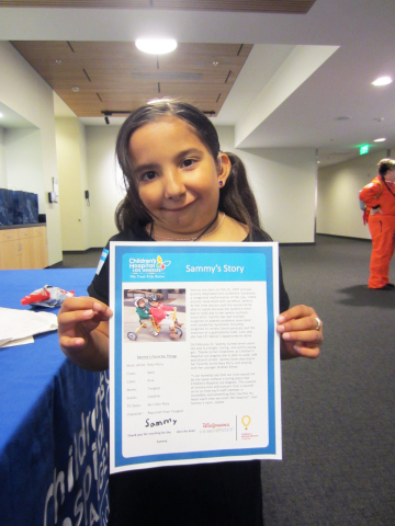 Last year, Sammy Martinez, 7, had 257 appointments at Children's Hospital Los Angeles to treat Goldenhar Syndrome, a congenital malformation that impacts the facial area and the spine. Walgreens $1.5 million donation will go to medical services at CHLA that help brave kids like Sammy. (Photo: Business Wire)