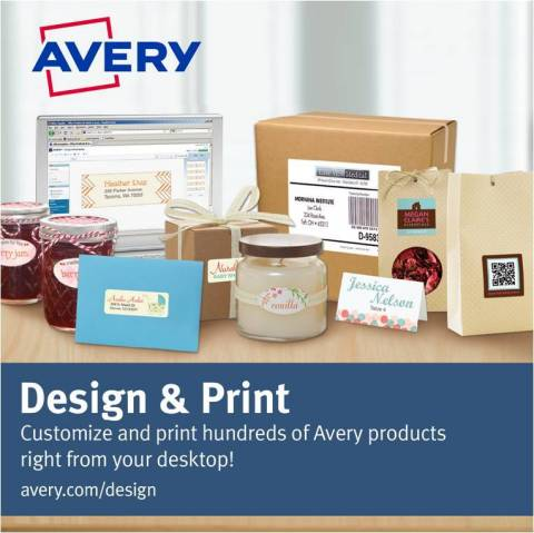 Customize and print hundreds of Avery products right from your desktop with Avery Design & Print! (Graphic: Business Wire)