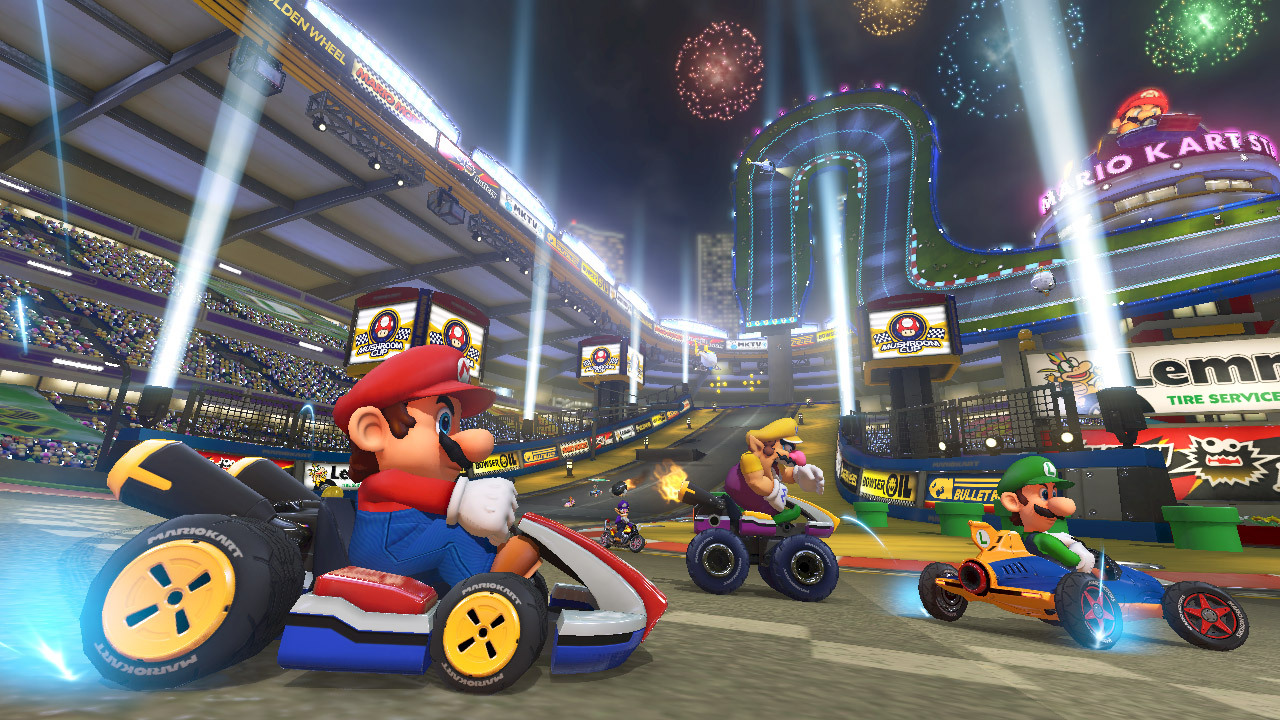 Feel the rush as your kart rockets across the ceiling. Race upside-down and along walls on anti-gravity tracks in the most action-fueled Mario Kart game yet. (Photo: Business Wire)
