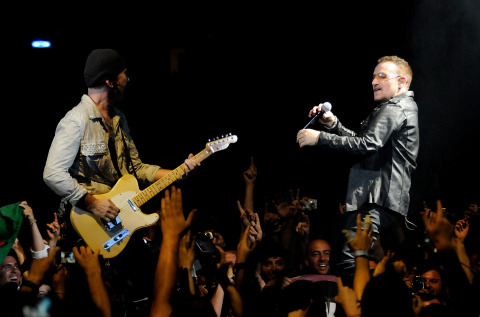 U2's The Edge and Bono have joined Fender Musical Instruments Corporation's board of directors. (Photo: Business Wire)