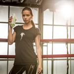 Supermodel Adriana Lima participates in AMAZONIA Beverages' #UrbanJungleWorkout in New York, May 28, 2014. INSIDER IMAGES/Gary He (UNITED STATES)