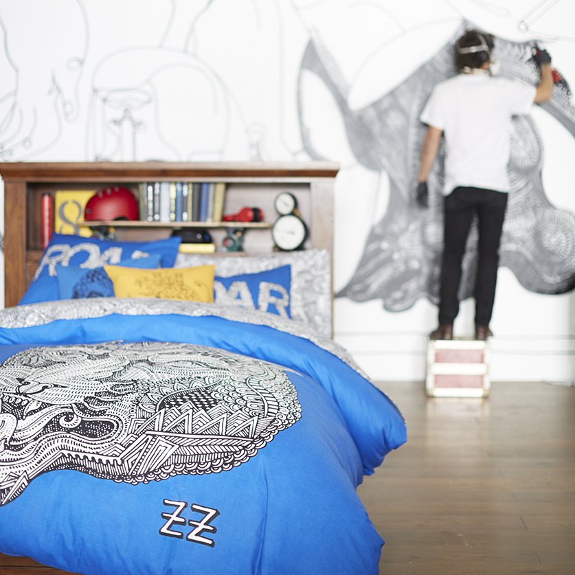 Artist Zio Ziegler collaborates with PBteen for an exclusive collection of home furnishings, décor and gear that reflect his bold, graffiti-inspired style. (Photo: Business Wire)