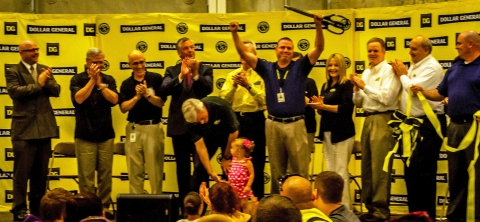 Steve Kujovsky, Dollar General's Bethel Distribution Center director, celebrates the grand opening of the company's 12th distribution center alongside Dollar General executives today in Bethel, Pennsylvania. (Photo: Business Wire)
