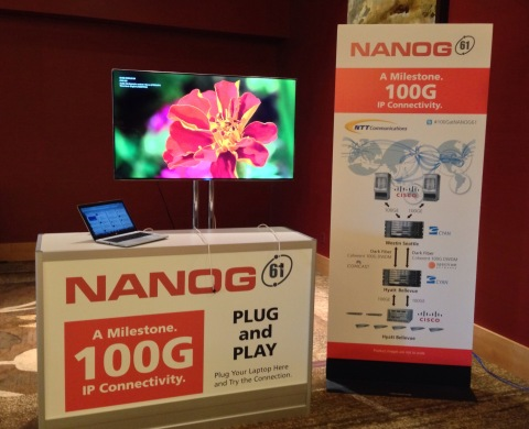 NTT Communications, Cisco and Cyan Collaborate to Provide First 100G IP Network for NANOG 61. A Picture of the 100G IP Demo is Shown Here. (Photo: Business Wire)