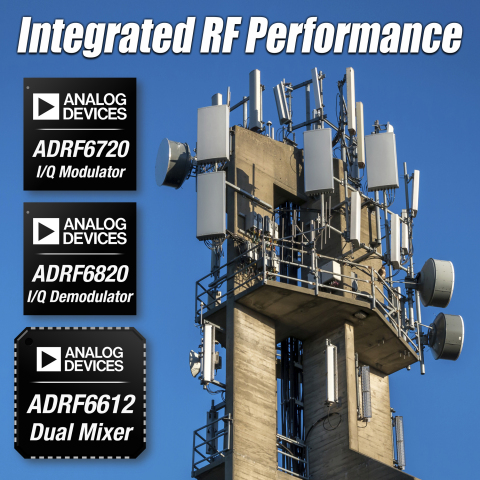 Analog Devices Introduces High-Performance RF ICs for Multi-band Base Stations and Microwave Point-to-Point Radios. New programmable, highly integrated modulator, demodulator and dual-mixer simplify design in 3G/4G communications, military/aerospace and instrumentation equipment applications. (Graphic: Business Wire)