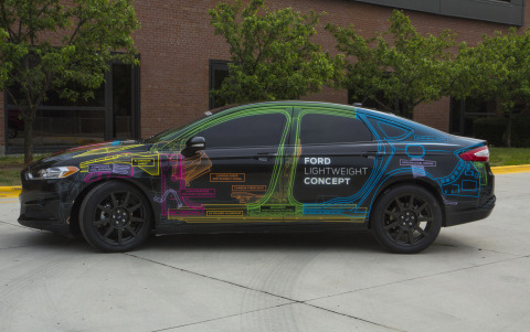 Ford Lightweight Concept reduces the weight of a 2013 Fusion to that of a Ford Fiesta, resulting in a nearly 25 percent weight reduction. (Photo: Business Wire)