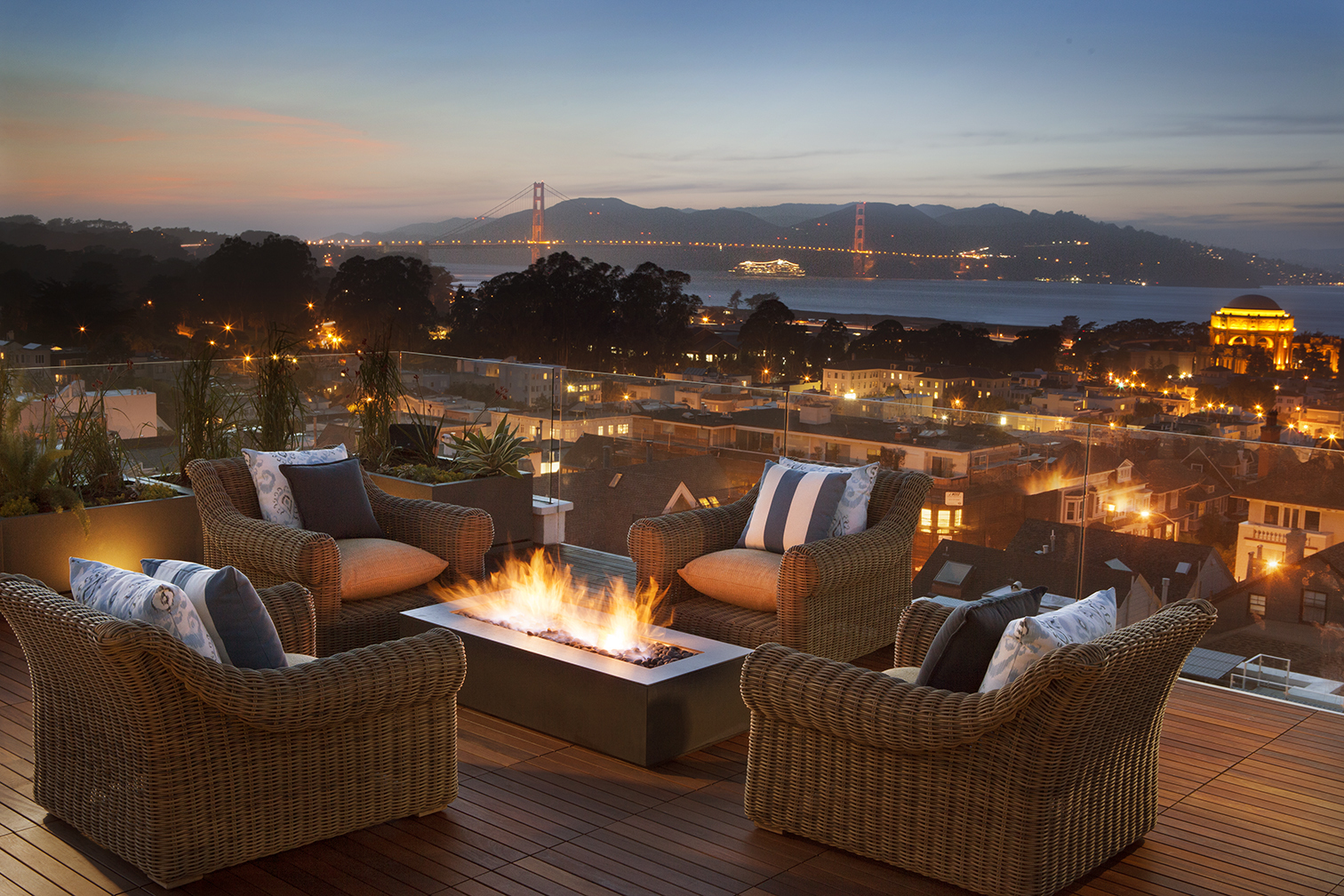Roof deck and fire pit at Residence 2680 by Troon Pacific, Inc. (Photo: Business Wire)