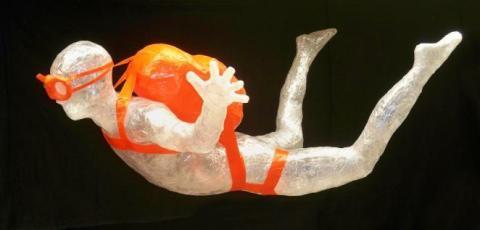 """Free Fallin"" - A tape sculpture made with Scotch Packaging Tape. (Photo: Jake Longenecker)"