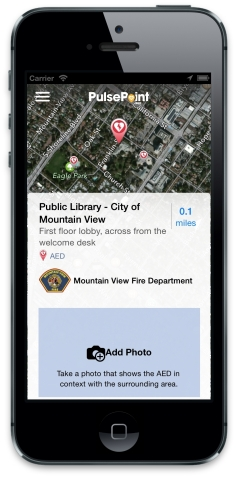 The PulsePoint AED app enables users to gather location data and images of automated external defibrillators (AEDs) and share that information with their local public safety agencies. The PulsePoint AED app works in conjunction with the lifesaving PulsePoint Respond app. Both apps are available for free download for mobile devices. (Photo: Business Wire)