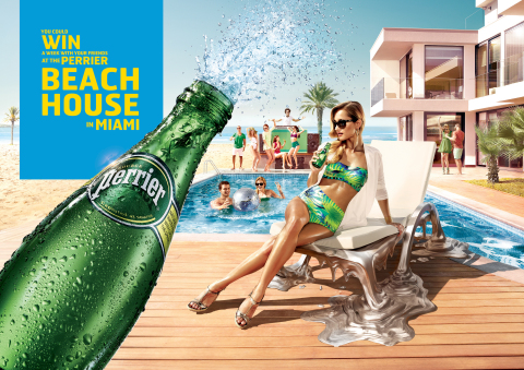 Perrier(R) Sparkling Natural Mineral Water today announces the launch of its 2014 Beach House Sweepstakes, offering consumers the chance to win a week-long VIP vacation getaway for the Grand Prize winner and nine friends to the luxurious Perrier Beach House in Miami. (Graphic: Business Wire)